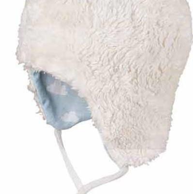 Leichte Übergangsmütze mit ungefärbtem Teddyplüsch - neutral