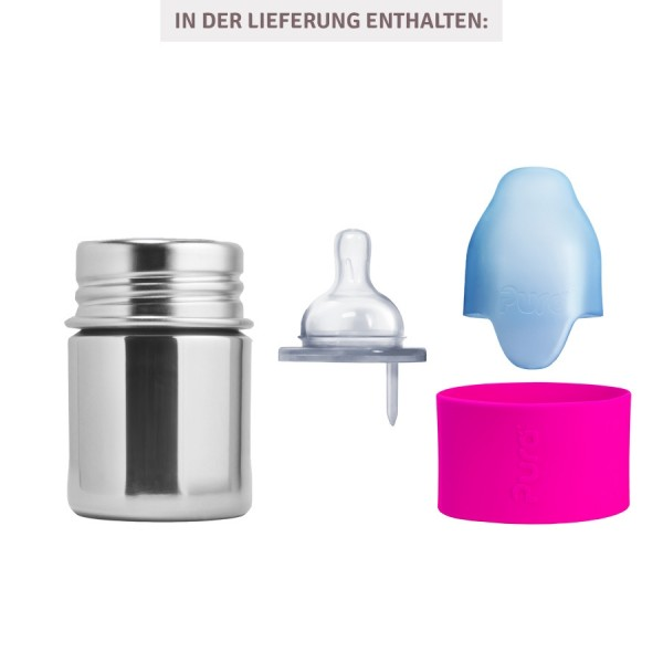 Pura kiki Babyflasche Edelstahl mit langsamen Sauger - pink
