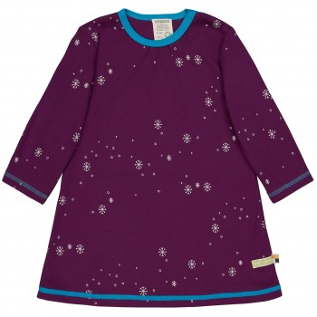 Kleid langarm Schneeflocken in lila
