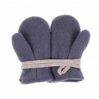 Bio Schurwolle Fleece Baby Handschuhe - grau