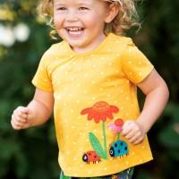 Gelbes Mädchen Shirt A-Linie Marienkäfer
