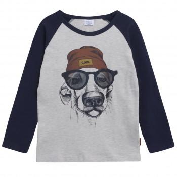 Warmes Raglanshirt langarm Hunde-Print in creme-navy