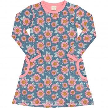 Kleid mit Taschen langarm Sonnenblumen blau