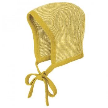 Baby Mütze Merinowolle atmungsaktiv senf