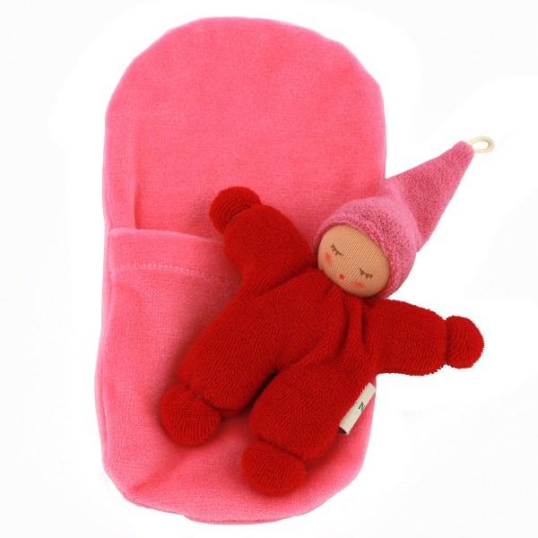 Wichtel mit Rassel im Schlafsack - rot