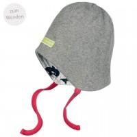 Mütze zum Wenden und Binden Fleece in grau