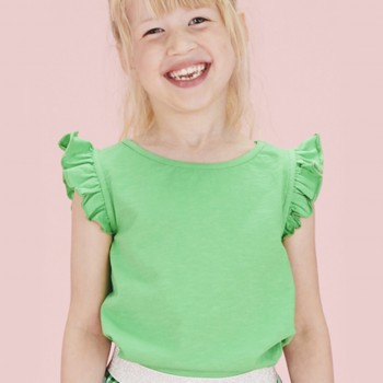 Leichtes T-Shirt Schmetterlingsärmel grün