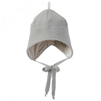 Wolle Wintermütze breiter Ohrenschutz grau