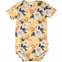 Edler, leichter Kurzarmbody Blumen in gelb