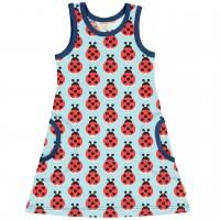 Sommerliches Kleid ohne Arm Marienkäfer in hellblau