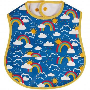 Regenbogen Lätzchen mit Auffangtasche in blau