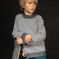 Retro-Look Strick Pullover in dunkelgrau