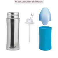 Vorschau: Edelstahl Flasche mit Trinkhalm ab 6 M - open end blau