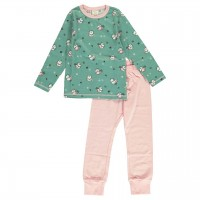 Grüner Schlafanzug langarm Spatz