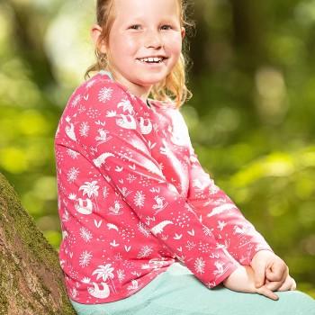 Leichtes Shirt langarm Dschungel pink