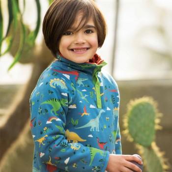 Plüsch Pullover Dino in blau