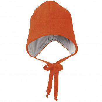 Wintermütze Wolle orange Ohrenschutz