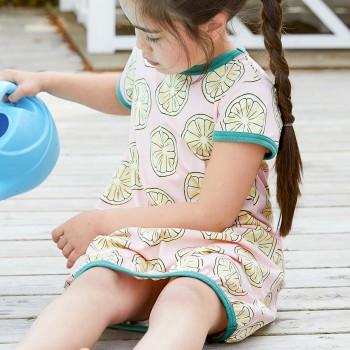 Ballon Kleid kurzarm elastisch Zitronen hellrosa