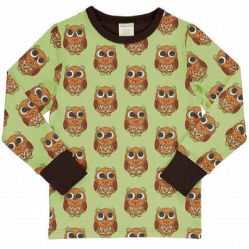 Eulen Shirt langarm hellgrün matt