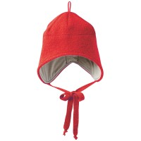 Wolle Wintermütze breiter Ohrenschutz rot