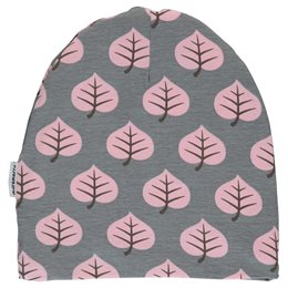Warme Mädchen Beanie Blatt grau rosa