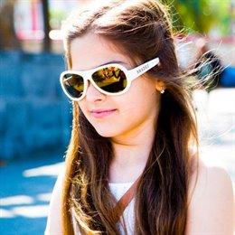 7-16 Jahre flexible Sonnenbrille Teeny uni weiß polarisiert