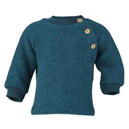 Woll Fleece Pullover Holzknöpfe petrol