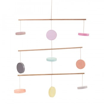 Mobile aus Holz Kreise pastell