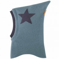 Blaue Woll Schlüpfmütze Sternen-Aufnäher