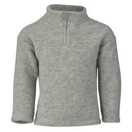 Woll Fleece Pullover mit Reißverschluss grau