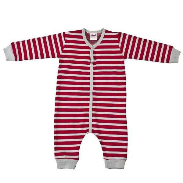 Warmer Babystrampler unisex rot grau