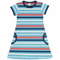 Süsses Ringel Kleid kurzarm blau