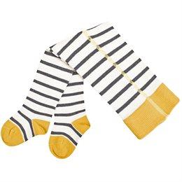Baby Strumpfhose mit breitem Bund grau gelb