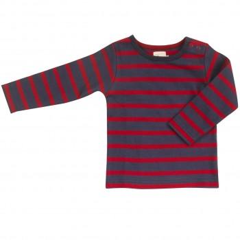 Shirt Langarm navy-rot gestreift