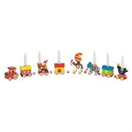 Geburtstagszug mit 8 bunten Zirkus-Anhängern