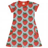 Kleid Erdbeeren hellblau rot kurzarm