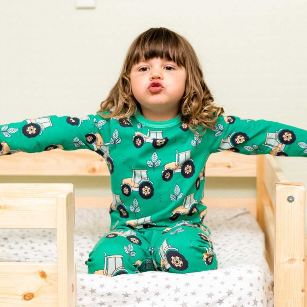 Schlafanzug langarm Traktor grün
