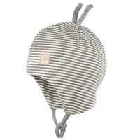 Wolle Seide Babymütze doppellagig atmungsaktiv silber grau