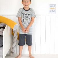 Schlafanzug leicht Shorts und Shirt Ringel