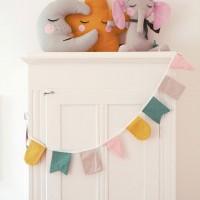 Wimpelkette Stoff 3 m – Geburtstagsgirlande pastell