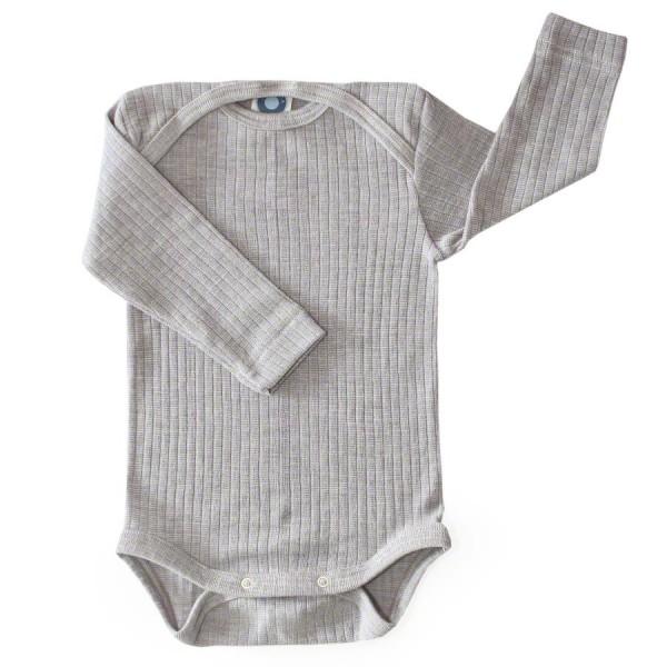 365f555ea799 Baumwolle Wolle Seide Body langarm grau meliert