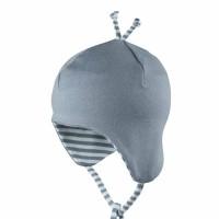Leichte Babymütze Ohrenschutz grau