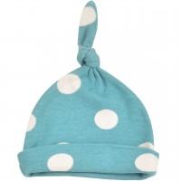 Babymütze mit Knoten Punkte blau-grau