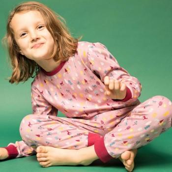 Bio Pyjama Rehe weinrot