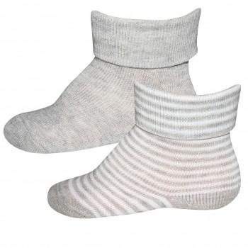 Baby Socken 2er Pack grau-weiß
