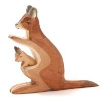 Känguru + Kind Holzspielzeug 11,5 cm hoch