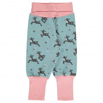 Krabbel- und Spielhose Rentiere Bündchen hellblau