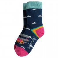 Mädchen Socken navy-pink Flugzeuge