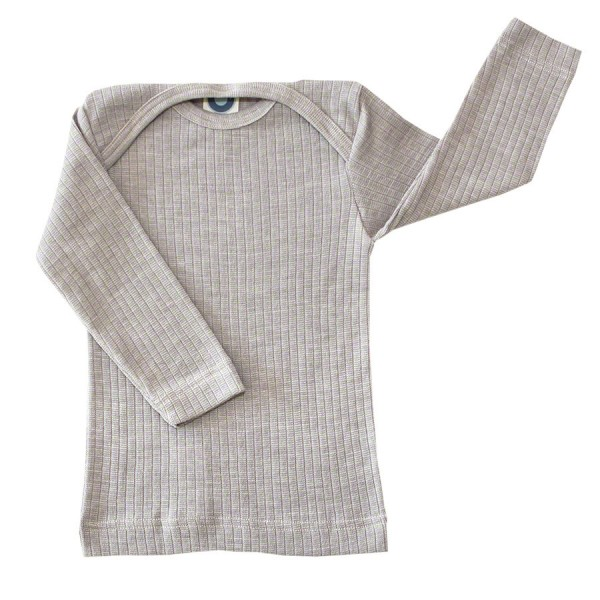 3910c16bc798 Baumwolle Wolle Seide Langarmshirt grau meliert