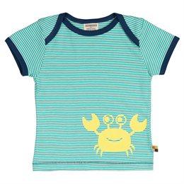 geringeltes leichtes T-Shirt Krabbe grün